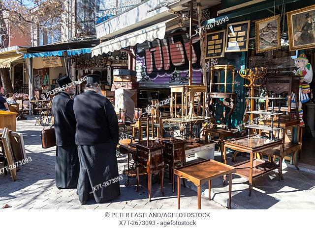 The antiques and bric-a-brac market at Monastiraki, in the centre of Athens, Greece