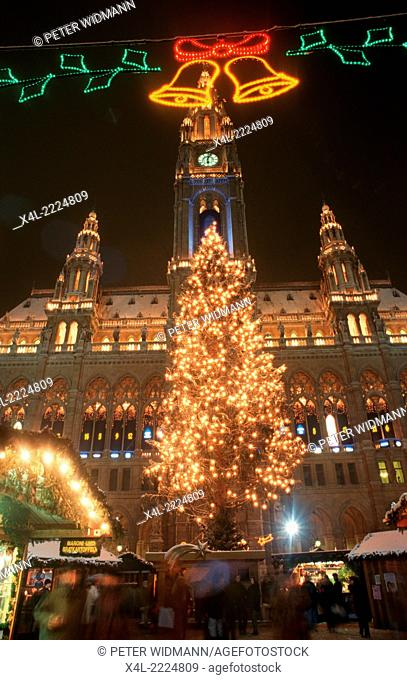 Christmas market at city hall Vienna, Austria, Vienna, 1. district, city hall