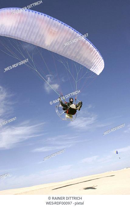 Paraglider in a desert
