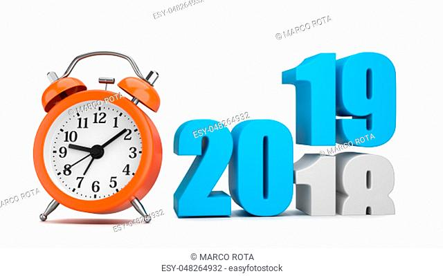 Blue 2019 Year Number Text on Top of 2018 with Orange Alarm Clock on White Background 3D Illustration. Time Passes Concept