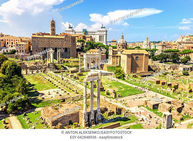Summer photo of the Roman Forum: the Temple of Castor and Pollux, the Arch of Septimius Severus, the Temple of Saturn, the Temple of Vespasian