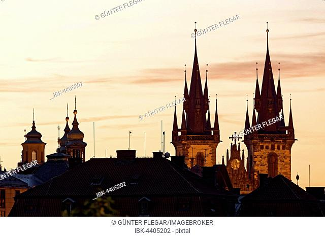 Tyn Cathedral at Dusk, Old Town Square, historic centre, Prague, Czech Republic