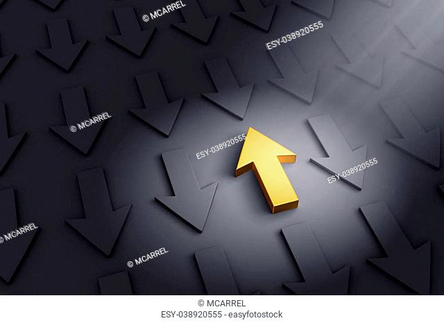 A spotlight illuminates a bright, gold up arrow on a dark gray background filled with down arrows