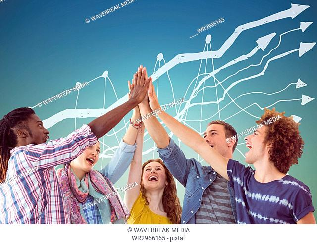 Trendy team putting hands together against white graph and blue green background