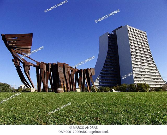 the administrative building and the azorean monument from porto alegre city