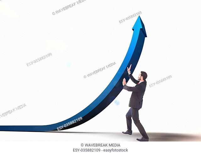 businessman pushing blue arrow