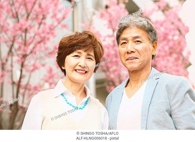 Fashionable Japanese senior couple and cherry blossoms downtown Tokyo