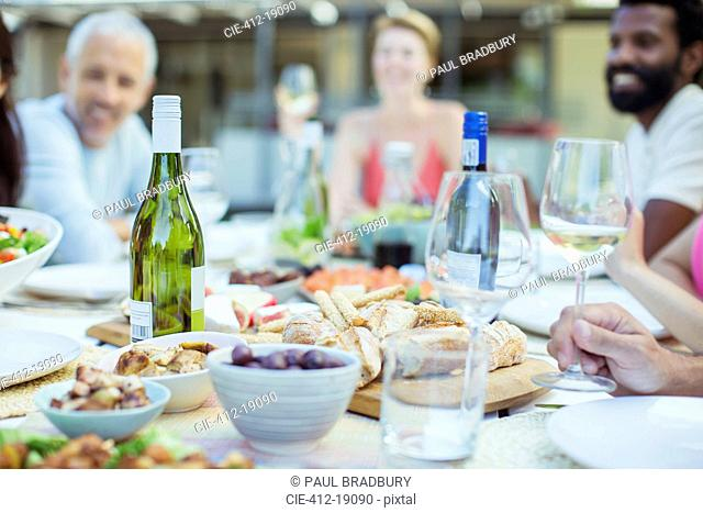 Plates of food on table outdoors