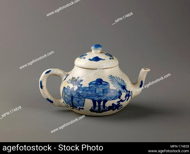 Small covered wine pot or teapot. Artist: Chinese , Qing Dynasty, Kangxi period; Date: 1662-1722; Culture: Chinese; Medium: Soft-paste type porcelain painted in...