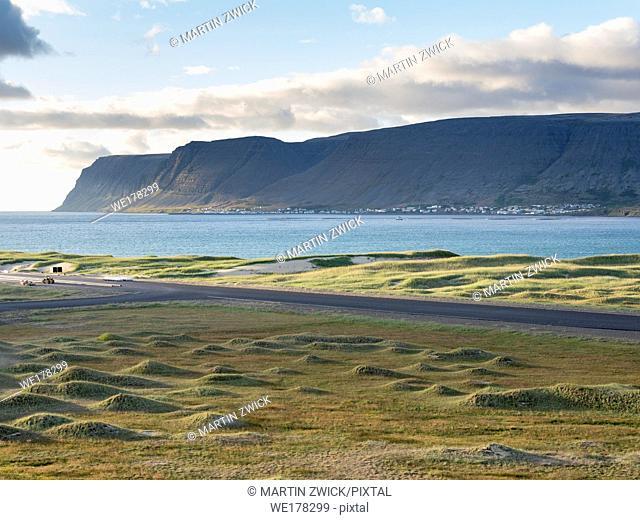 Village Patreksfjoerdur localted at the shore of the correspondent fjord. The remote Westfjords (Vestfirdir) in north west Iceland
