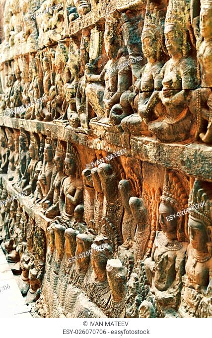 Terrace of the Leper King, Angkor Wat, Cambodia.Close up detail of the wall