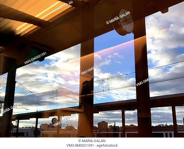 Campogrande railway station at dawn viewed through the train window. Valladolid, Spain