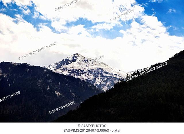 Clouds over mountain range, Manali, Himachal Pradesh, India