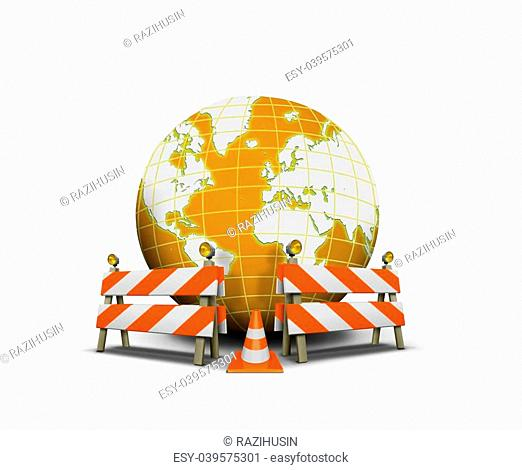 Website under construction with globe and barrier