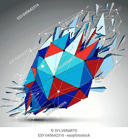 Abstract 3d faceted blue spherical figure with connected black lines and dots. Vector low poly shattered design element with fragments and particles