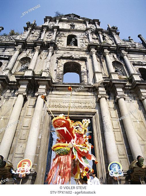 Asia, China, Chinese new year, Church, Dragon dance, Holiday, Landmark, Macao, Macau, Paulo, Sao, Tourism, Travel, Vacation