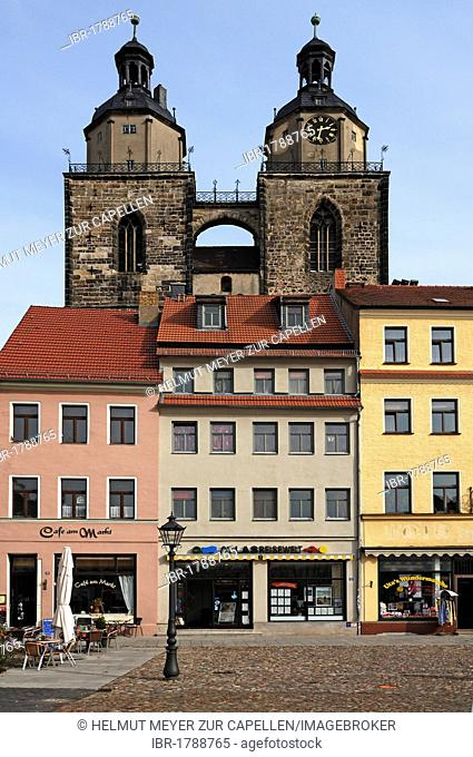 Spires of the city and parish church of St Marien, St Mary, buildings at front, Lutherstadt Wittenberg, Martin Luther City Wittenberg, Saxony-Anhalt, Germany