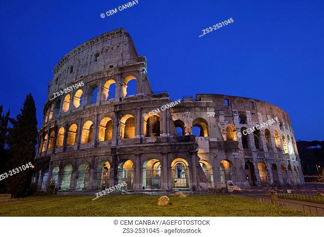 The Roman Colosseum by night, Rome, Lazio, Italy, Europe
