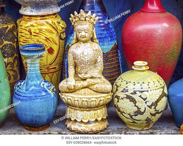 Old Chinese Design Blue White Ceramic Buddha Pots Panjuan Flea Market Beijing China. Panjuan Flea Curio market has many fakes