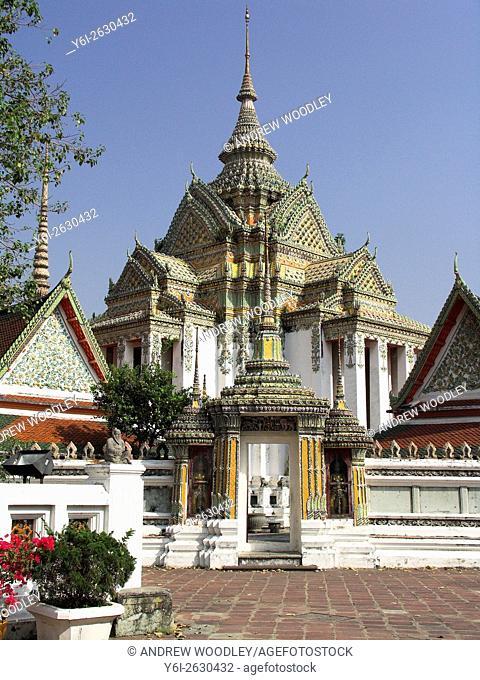 Decrated mosaic temple Wat Po Bangkok Thailand