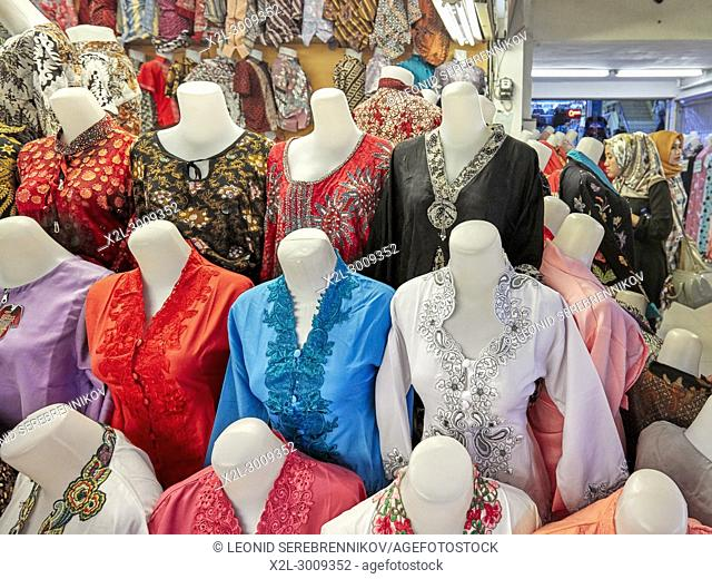 A selection of women's clothing on mannequins. Beringharjo Market, Yogyakarta, Java, Indonesia