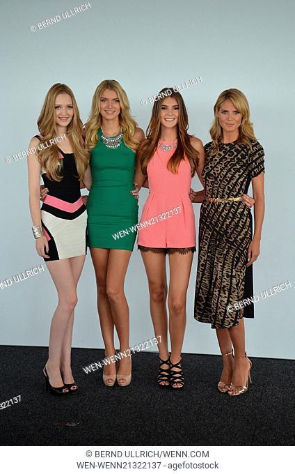 Heidi Klum and the three finalists of 'Germany's Next Topmodel' attending a press conference at KoelnSky. Featuring: Heidi Klum,Ivana Teclic,Jolina Fust