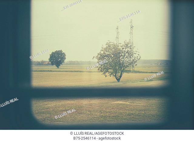 Field landscape with trees and electrical towers seen through the window of a train to Milan. Italy, Europe