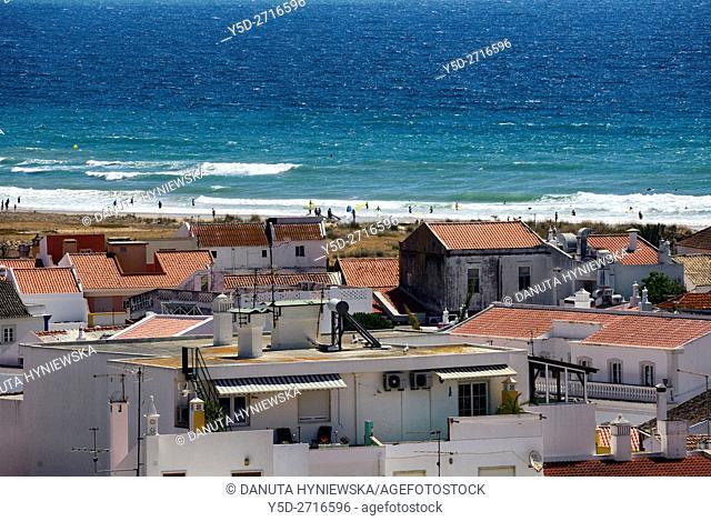 Europe, Portugal, Algarve, Faro district, Lagos, distant view for the long beach - Meia Praia