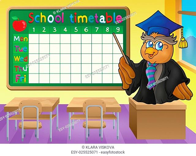 School timetable classroom theme 2 - picture illustration