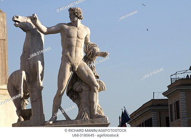 Italy, Rome, Fontana dei Dioscuri, Statues of Castor and Pollux