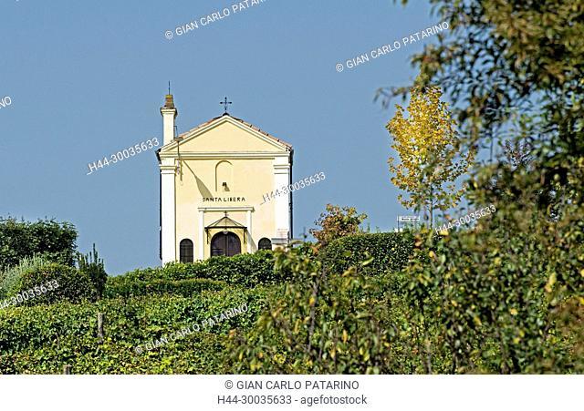 Italy, panorama of vineyards of Piedmont Langhe-Roero and Monferrato on the World Heritage List UNESCO rural sacred chapel of Santa Libera near San Marzano...