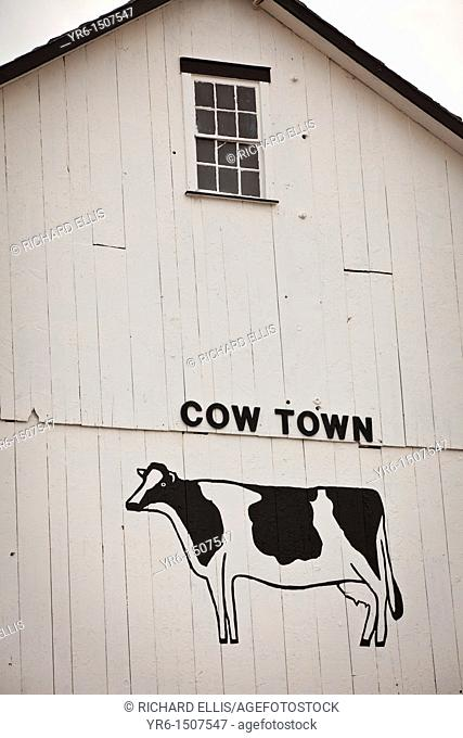 Cow and sign saying cow town on an Amish barn Bird in Hand, PA