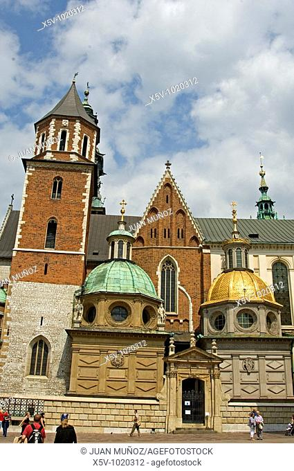 Sigismund's Cathedral and Chapel as part of Royal Castle. Wawel. Krakow. Poland