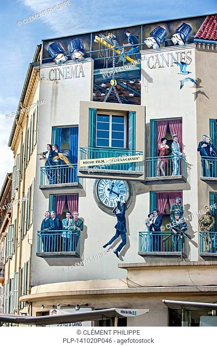 Wall painting Cinéma Cannes about movie stars in the city Cannes, French Riviera, Provence-Alpes-Côte d'Azur, France