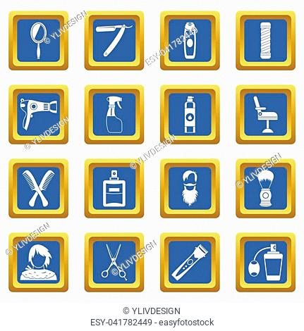 Hairdressing icons set in blue color isolated illustration for web and any design