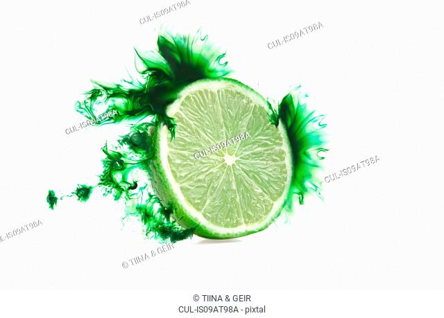 Half a lime with corresponding coloured digital burst effect