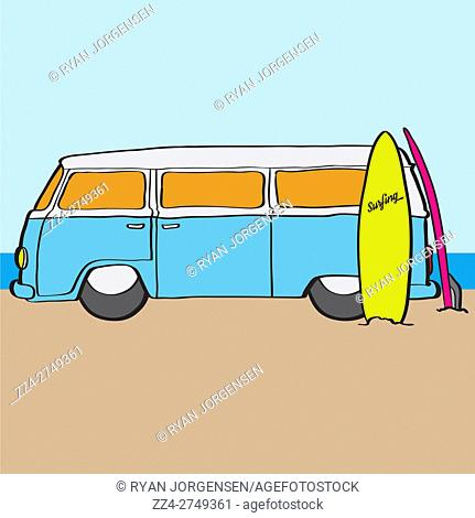 Digital illustration of a light blue Volkswagen Kombi surf van with surfboard on sandy Australian beach