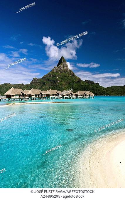 Huts, lagoon and Mount Pahia, Bora Bora island, Society Islands, French Polynesia (May 2009)