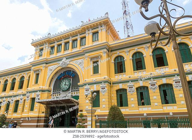 General Post Office Building from the French Indochina Era, now a popular tourist attraction in Saigon,Vietnam