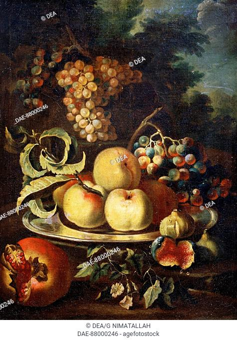 Still life with fruit, by Christian Berentz (1658-1722).  Florence, Museo Bardini (Art And Arts And Crafts Museum)