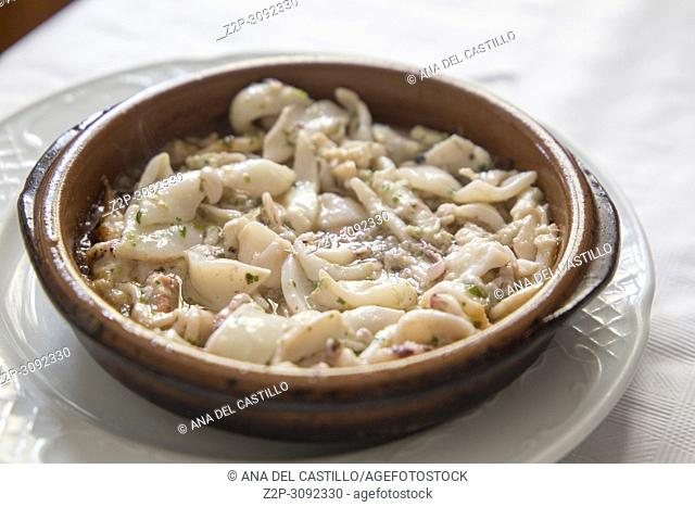 Stew of little squids with garlic Spain appetizer