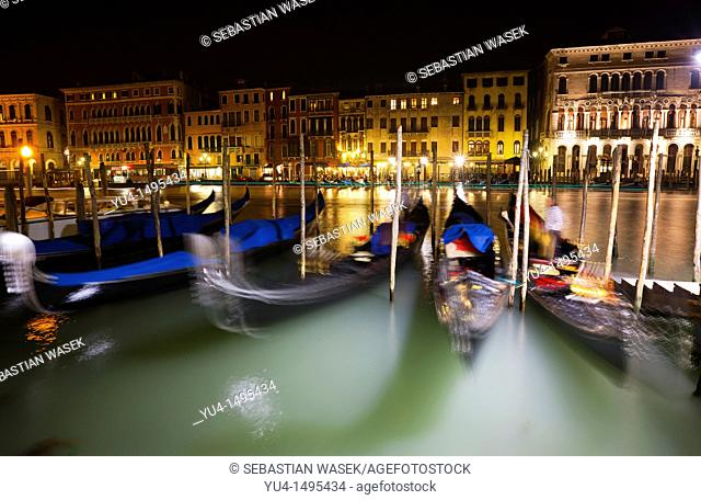 Gondolas in Grand Canal, Venice, Veneto, Italy, Europe
