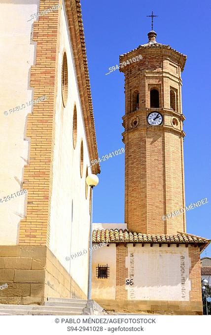 Tower of the church of Nuestra Señora de la Esperanza in Igries, Huesca, Spain