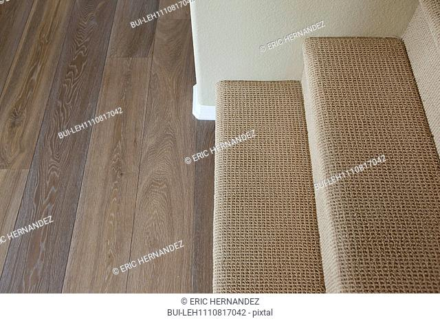 Close-up of carpet on stairs with wooden floor at home