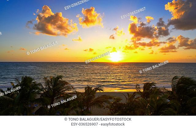 Mahahual Caribbean beach sunrise in Costa Maya of Mayan Mexico