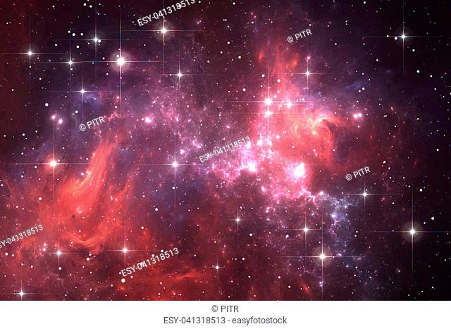 Night sky space background with nebula and stars, illustration