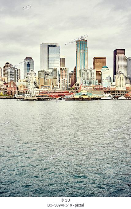 View of waterfront and skyline, Seattle, Washington State, USA