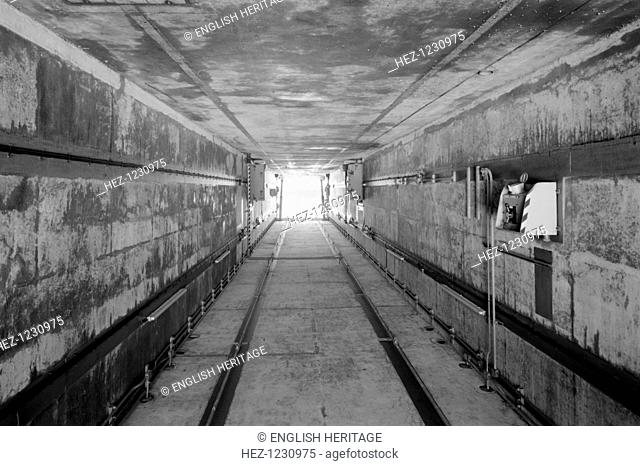 Interior of cruise launcher garage at Greenham Common Airbase near Newbury, Berkshire. Greenham Common became notorious during the 1980s when peace campaigners...