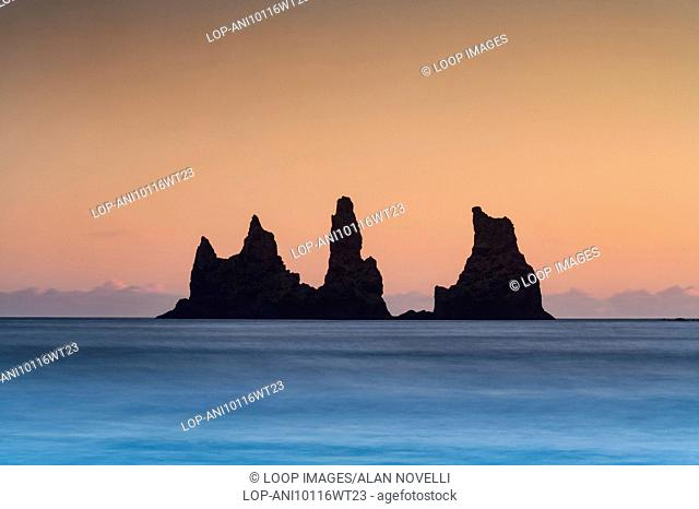 Reynisdrangar rock pillars at sunset