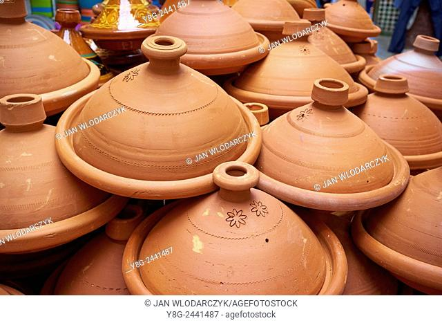 Tajine, traditional clay pot using to prepare vegetables with meat (tajine). Morocco